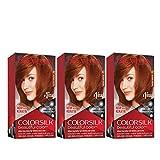 REVLON Colorsilk Beautiful Color Permanent Hair Color with 3D Gel Technology & Keratin, 100% Gray Coverage Hair Dye, 42 Medium Auburn, 4.4 oz (Pack of 3)