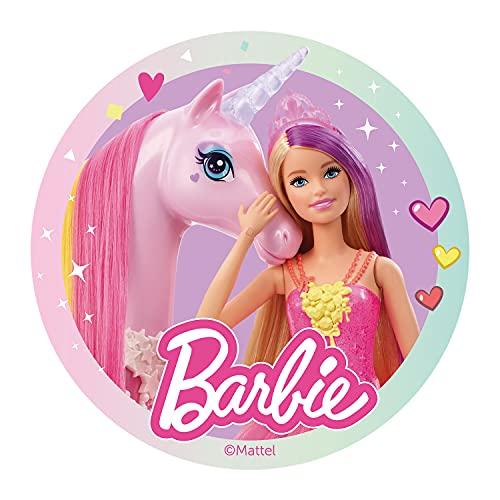 Dekora - Decoracion Tartas de Cumpleaños Infantiles en Disco de Oblea Comestible de Barbie - Licencia Oficial - Sin Gluten, Sin Azúcar, Sin Lactosa, Apto para Vegetarianos - 20 cm de Diámetro, 160162