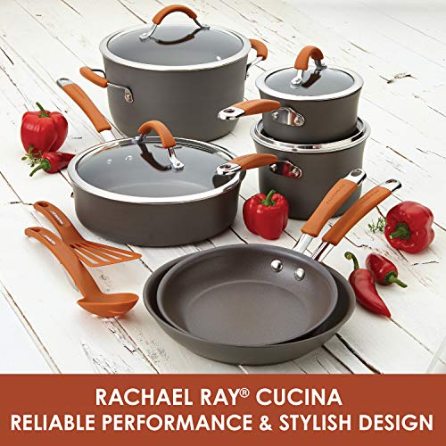 Product Image 3: Rachael Ray Cucina Dishwasher Safe Hard Anodized Nonstick Cookware Pots and Pans Set, 12 Piece, Gray with Orange Handles