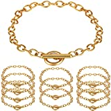 12 Pieces Chain Bracelets Alloy Metal Plated Link Bracelet Chains with OT Toggle Clasps for Men Women Charm Minimalist Jewelry Bracelet Making (Gold)