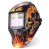 Auto Masque De Soudure Electrique Assombrissement Automatique Grande Vue Casque de Soudage Soudage Solaire Accessoire de Protection Crâne et Flamme DIN 9-13 (avec 5 Protecteurs) (Enflammé-E93)