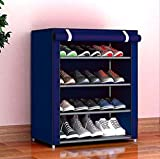 Zizer 4 Layer Multipurpose Portable Folding Shoes Rack/Shoes Shelf/Shoes Cabinet with Wardrobe Cover, Easy Installation Stand for Shoes(Shoes Rack)(Shoes Rack, Shoes Racks for Home)_4 Layer Navy