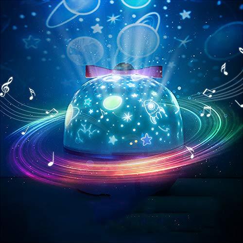 Sternenhimmel Projektor Lampe, Musik Nachtlicht Lampe mit 6 Projektionsfilmen 360° Rotation, LED Musik Baby Nachtlicht Stimmungslicht, für Kinder, Geburtstage, Zimmer Dekoration, Halloween usw (Weiß)