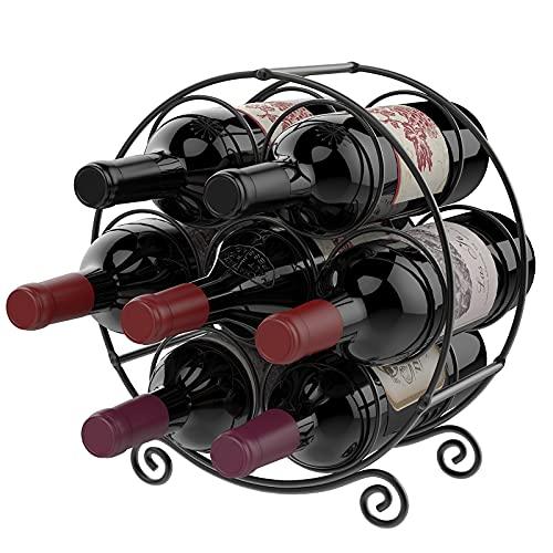 Nuovoware Portabottiglie Vino in Metallo Robusto per 7 Bottiglie, Scaffale Cantinetta da Tavolo Supporto per Bottiglie Vino Champagne Spumante Portabottiglie di Vino per Casa Cucina Bar - Nero