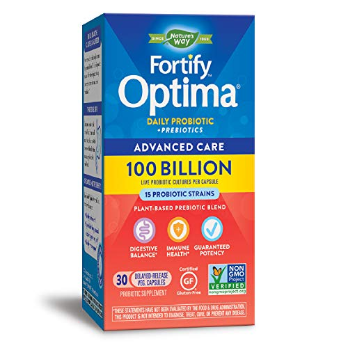 Natures Way Fortify Optima Probiotic + Prebiotic, 100 Billion Live Cultures, 15 Strains, Non-GMO Project Verified, Refrigeration Required, 30 Vegetarian Capsules