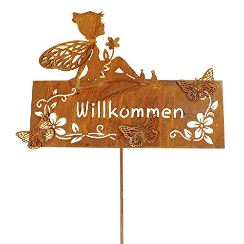 Stecker Willkommen 75x27cm mit Elfe Fee Gartenstecker Deko, Farbe:rost