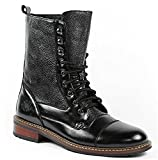 Polar Fox Men's 801025 Tall Military Style Lace Up Combat Fashion Dress Boots, Black, 9