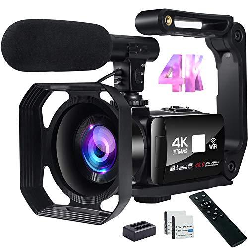 Videocamera Digitale Full HD Videocamera 4K 48MP Immagine Videocamera con Microfono, Wi-Fi, Zoom Digitale 18X, Touch Screen 3 '' e Telecomando