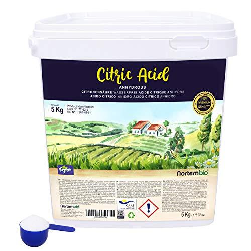Nortembio Acido Citrico 5 Kg, Polvere Anidro, 100% Puro, Per Produzione Biologica, E-Book Incluso