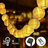 Guirlande Solaire Exterieur LED Lanterne, 9,5m 8 Modes 50 Amopoules...