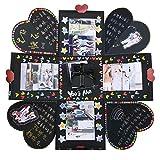 VEESUN Caja de Regalo Creative Explosion Box, DIY lbum de Fotos Scrapbook 15x15x15cm Caja Fotos, San Valentin Navidad Regalos Originals Artesanales Mujer Hombre Novio Nia Nios, Negro