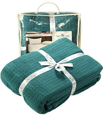 Farmhouse Cotton Thermal Blanket in Basket weave -90x90Full Queen Teal,Snuggle Super Soft Blanket,Breathable Cozy Cotton Blankets,Full Queen Blanket, Teal Blanket,Light Thermal Blanket,Soft Blanket