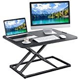 Standing Desk Converter Height Adjustable Sit to Stand Desktop Desk Gas Spring Riser, Perfect Workstation 28.5 inches for Laptop & Computer Monitors by HUANUO