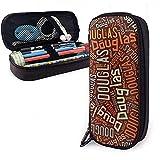 Douglas American Apellido Funda de lápiz de cuero de alta capacidad Soporte para bolígrafo Bolsa de almacenamiento Organizador de caja Bolígrafo de maquillaje escolar Bolso cosmético portátil