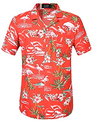 Machine wash cold, tumble dry low. Do not bleach Relaxed fit, perfect tailored silhouette. Soft polyester of high quality is breathable and comfortable Hawaiian shirt with convertible collar, short sleeves, curved hem, left chest pocket and front log...