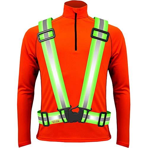 Tuvizo Warnweste Fahrrad   Reflektoren Fahrrad   Sicherheitweste für Laufen - Komfortables Reflektorband für hohe Sicherheit und Visibilität (Gelb, Kinder)