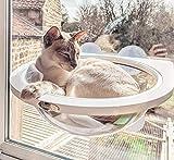 Pecute Hamac de Fenêtre pour Chat Suspendus Lit de Chat Supporter Jusqu'à 10 kg avec 4 Ventouse Détachable