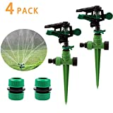 1/2 Garden Sprinkler(Set of 2) 360 Degree Automatic Rotating Lawn Sprinkler with Up to 3,000 Sq Ft Coverage - Adjustable, Weighted Gardening Watering System