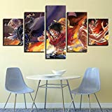 Zcbm Canvas Print 5 Pieces HD Anime Characters Pictures One Piece Monkey D. Luffy Cartoon Poster Wall Art Home Decoration for Children's Room,D,40x60x2+40x80x2+40x100x1