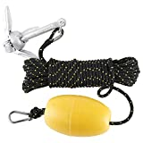NovelBee Kayak 1.5lb Folding Anchor Accessories with Hooks,Buoy Ball and 1/4' x 30' Double Braid Nylon Rope for Fishing Kayaks,Canoe and Small Boat (Black/Yellow)