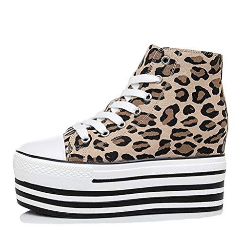 Zapatillas de Lona con Estampado de Leopardo para Mujer Alpargatas Zapatillas de Plataforma Zapatillas Deportivas con Estilo Casual Zapatos vulcanizados de tacón Oculto