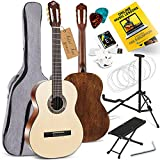"""Pyle Premium Solid Spruce Top Full Size Classical Acoustic Guitar - 39"""" 6 Nylon String Traditional Classic Handcrafted Instrument Full Starter Kit w/Gig Bag, Digital Tuner, Picks, Stand & Foot Stool"""