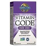 Garden of Life Vitamin Code Raw Zinc, 30mg Whole Food Zinc Supplement + Vitamin C, Trace Minerals & Probiotics for Immune Support, Certified Vegan Non-GMO & Gluten Free Zinc Supplements, 60 Capsules