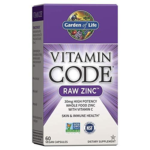 Garden of Life Zinc Vitamin - Vitamin Code Raw Zinc Whole Food Supplement with Vitamin C, Vegan, 60 Capsules *Packaging May Vary*