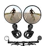 2PCS Bike Mirrors,Adjustable Rotatable Handlebar Mounted Plastic Convex Mirror for Mountain Road...