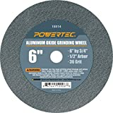 POWERTEC 15514 Aluminum Oxide Grinding Wheel, 6' x 3/4', 1/2' Arbor, 36 Grit
