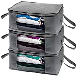 Woffit Foldable Storage Bag Organizers, Large Clear Window & Carry Handles, Great for Clothes, Blankets, Towels, Winter & Summer Clothing, Closets, Bedrooms, Under Bed & More (Large)