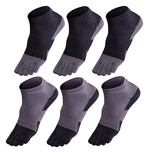 GINZIN 6 paia Cotone sportivi cinque calzini della punta della barretta degli uomini di Calze...