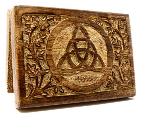 Caja de madera maciza triquetra para cartas del tarot, 18 x 13 cm