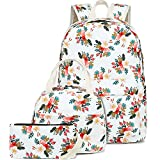 BLUBOON School Backpack Set Teen Girls Bookbags 15 inches Laptop Backpack Kids Lunch Tote Bag Clutch Purse (E0023 Off White)