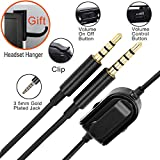 A10 A40 Replacement Cable Inline Mute Volume Control with Microphone for Astro A10 A40 Headsets Cord Lead Compatible with Xbox One Play Station 4 PS4 Headphone Audio Extension Cable 6.5 Feet