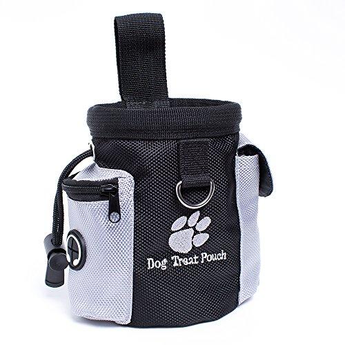 qoqo dogs Futtertasche für Hunde Leckerlies Leckerlitasche für Hunde Futterbeutel Dog Treat Pouch Schwarz & Grau Leckerlibeutel Snack Bag mit Clip & Keine Tasche Leckerlie -Tasche Fürs Training