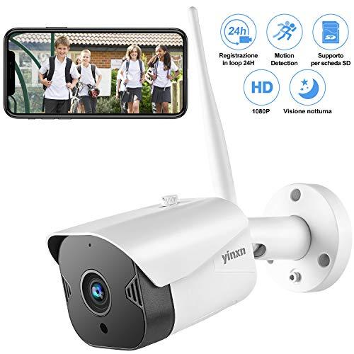 YINXN Telecamera di Sorveglianza 1080P Wi-Fi Esterno, Impermeabile 2MP, Visione Notturna, Audio Bidirezionale, Accesso Remoto, Rilevazione di Movimento, Android/iOS, Supporta SD Card