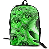 XCNGG Mochila de impresión de fotograma Completo para Adultos Mochila Informal Mochila Mochila Escolar Lightweight Durable Backpack Daypack for School Travel Hiking, Marijuana Weed Leaf Green