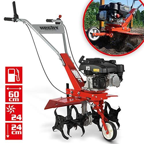 HECHT Benzin Motorhacke mit 60 cm Arbeitsbreite – 4 Takt Motor – 24 harte Messer – Bodenfräse – Gartenhacke – Kultivator – zum Boden umgraben und lockern - Gartenfräse Benzin