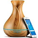 Smart Wifi Wireless Essential Oil Aromatherapy Diffuser - Works With Alexa & Google Home – Phone App & Voice Control - 400ml Ultrasonic Diffuser & Humidifier - Create Schedules - LED & Timer Settings