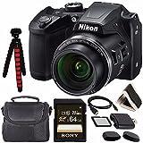 Nikon COOLPIX B500 Digital Camera (Black) 26506 + Sony 64GB UHS-I SDXC Memory Card (Class 10) + Flexible 12' Tripod + Small Soft Carrying Case + HDMI Cable + Card Reader + Memory Card Wallet Bundle