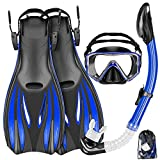 Mask Fins Snorkel Set Snorkeling Gear for Adults, Swim Goggles Panoramic View Anti-Fog Anti-Leak, Dry Top Snorkel and Dive Flippers Kit with Gear Bag, Diving Mask Snorkel Gear