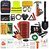 AUTODECO Car Roadside Emergency Kit - 118-Piece Premium Heavy Duty Car Roadside Emergency Kit - Jumper Cables Portable Air Compressor Tow Strap Multifunctional Hammer Shovel, etc.