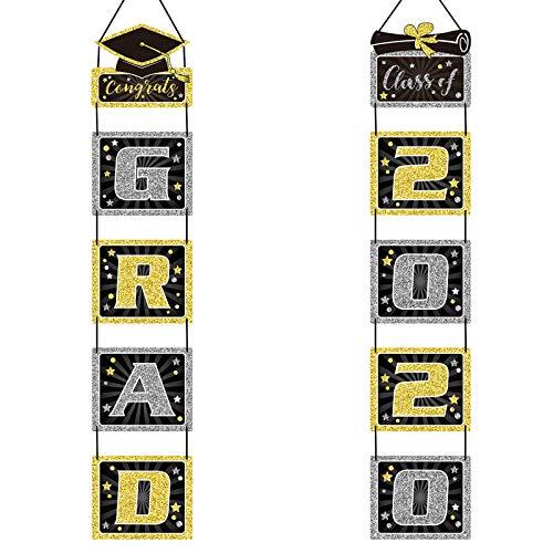 KATOOM 2020 Grad Banner, Letrero de Porche de Graduación Cuelgue Pared Puerta Foto Telón de Fondo Accesorios de Fiesta al Aire Libre Suministro Decoracion para Ceremonia de graduación de felicitación