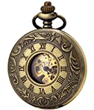 Sewor Robe double ouverture remontage manuel montre de poche + Band Cuir Boîte cadeau (Bronze)