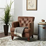 Antique Brown Fabric Club Chair Solid Farmhouse Traditional Vintage Polyester Wood Walnut Finish Nailheads Tufted Cushions Wheels