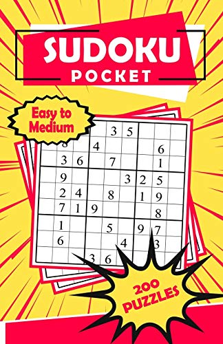 Sudoku Pocket: Compact Size, Travel-Friendly Book with 200 Easy to Medium Sudoku Puzzles and Solutions