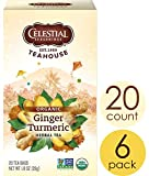 Celestial Seasonings Organics Herbal Tea, Ginger & Turmeric, 20 Count (Pack of 6) (Packaging May Vary)