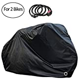 PAMASE Waterproof Bicycle Cover for 2 Bikes Outdoor Storage with Free Lock - 190T Polyester Cloth - Rain Sun Protection & Anti-UV-Black