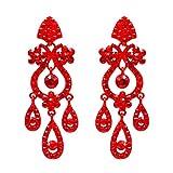 Iris Island Cute Austrian Crystal Rhinestone Drop Dangle Chandelier Earrings Red/Black for Proms Weddings Party (Red)